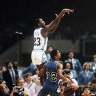 North Carolina freshman Michael Jordan sinks the game-winning shot in a 63-62 national title thriller against Georgetown in New Orleans.