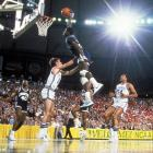 Patrick Ewing of Georgetown goes up for a signature dunk during a Final Four semifinal in Seattle. Georgetown defeated Kentucky 53-40 to advance to the championship game.