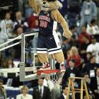 Arizona's mascot celebrates after the Wildcats defeated Kentucky 84-79 in overtime for the national title.