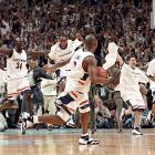 UConn players celebrate after knocking out Duke to capture the national championship.