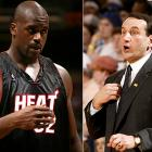 """Of the Lakers' pursuit of the Duke coach in 2004, Shaq, then a member of the Heat, said: """"Phil [Jackson] took us to the Finals [four] out of the five years, and you want to fire him and bring in Mike Krzyzewski? Come on, man. That's like being married to J.Lo, then dropping J.Lo for a girl that's 5-10, 480 pounds."""""""