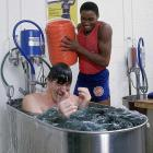 Thomas has a little fun with Laimbeer in the tub.