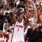 Chanucey Billups and the Pistons celebrate the 2004 NBA championship.