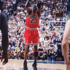 Jordan's last game as a Bull, on June 14, 1998, proved to be a memorable one. He made a key steal and nailed the game-winning shot over Utah's Bryon Russell to punctuate a 45-point performance as the Bulls wrapped up their six title and second three-peat.