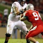 A left tackle in college, Britton has starting potential on the right side in the NFL.