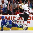 Possibly one of the more frightening moments of Rick Rypien's life...but the fans are enthused.