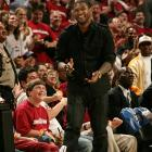 Usher is all smiles during Game Two of the Cavs-Hawks series.