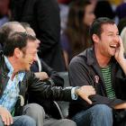 "Rob Schneider and Adam Sandler, friends and colleagues since their days at Saturday Night Live, share a laugh at Game 5 of the Western Conference semifinals between the Lakers and Houston Rockets. ""You can do it!"""