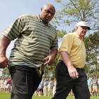 Charles Barkley walks the course during the Thursday Pro-Am of the Regions Charity Classic in Birmingham.