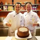 Not only does he race and dance, he cooks, too! Here is Helio Castroneves, being presented with a birthday cake by chef Stephan Pyles.