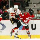 """Often cited as the NHL's hardest-hitting defenseman, his bruising style and hip-checks have made opponents see stars. Every foe is fair game. """"Phaneuf doesn't know any nameplates, he just knows sweater colors and opponents,"""" Calgary Flames coach Mike Keenan has said. """"That's a great thing about his game, he's competitive. Whether it's Sidney Crosby or any other opponent it doesn't matter to him."""""""