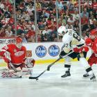 Chris Osgood made 31 saves as the Wings were outshot for the first time in the playoffs.