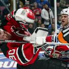 """After taunting Brodeur during the regular season, Avery upped the ante in this feud during the '08 playoffs. During a first-round game, Avery waved his hands and stick in front of Brodeur in an attempt to distract him and block his view. Not illegal at the time, that changed with the advent of the """"Sean Avery Rule."""" After the Rangers eliminated the Devils from the playoffs, Brodeur snubbed Avery in the handshake line, causing Avery to remark, """"Fatso forgot to shake my hand."""" Since then, Brodeur has referred to Avery as """"the Vogue intern."""""""