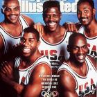 This cover features five members of The Dream Team. The 1992 Barcelona Olympics marked the first time NBA players participated in the Olympics and the U.S. team steamrolled through the competition on its way to a gold medal.