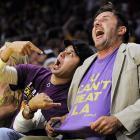 Game 1 of the NBA Finals: Hopeful shirt, hopeful fans.