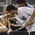 Getting hit by Melky Cabrera's bat probably doesn't engender the same kind of love from a fan.