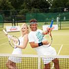 The singer and former tennis star enjoy a round of racket guitar. Rock. On.