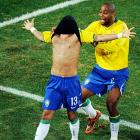 Alves is miming Brazil's odds at beating the U.S. this Sunday -- so good he could play with his eyes closed.