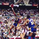In 43-year-old Kareem Abdul-Jabbar's swan song, injuries to Magic Johnson and Byron Scott hampered the Lakers and cleared the way for the Bad Boys to sweep the series.