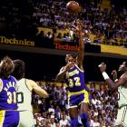 """In one of the most memorable moments in Finals history, Magic Johnson won Game 4 with what he called his """"junior, junior, junior sky hook."""" That victory in Boston gave the Lakers a 3-1 lead; they wrapped it up two games later in Los Angeles, where 39-year-old Kareem Abdul-Jabbar scored 32 points and Magic closed with 16 points, 19 assists and eight rebounds. Johnson became the fourth player to win the regular-season and Finals MVP awards."""