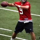 ''The last mini-camp in June, we're going to have an arms race,'' Lions coach Jim Schwartz said of the battle for the starting QB job between veteran Daunte Culpepper and rookie Matthew Stafford. Stafford won the job, becoming the first Lions rookie quarterback to be the starter at the beginning of the season since Greg Landry in 1968. Stafford played in 10 games and became the youngest quarterback to throw 5 touchdowns in a 38-37 win over the Browns on Nov. 22.
