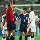 Beckham received a red card and was sent off against Argentina in the second round of the 1998 World Cup after kicking out at Diego Simeone. The tantrum caused a massive public and media outcry. Many fans blamed him for ruining England's shot at winning a World Cup.