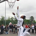 Venus glides to the rim during an EA Sports promotional event in Canada.