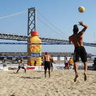 World's tiniest beach volleyball players. Just kidding. World's biggest juice.