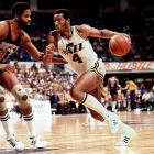 Jazz star Adrian Dantley personified cool with his high-knee socks. He wasn't alone. Tube socks made the players and the teams back in the '60s, with Jerry West and the Lakers rocking the sandwich-stripes (purple stripes in between blocks of yellow and white) while the Celtics wore the all-whites with green stripes near the knee.