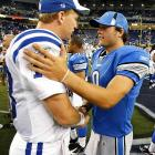 Peyton Manning completed 12 of 15 passes for 123 yards, while Matthew Stafford passed for 160 yards, going 13-for-19, to help the Lions beat the Colts.  Three-time MVP Manning has said Stafford -- the No. 1 pick in the NFL draft -- would be best served to play right away, as Manning did after he was drafted.