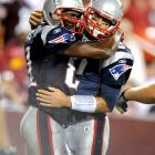 Tom Brady went 12-for-19 passing for 150 yards and two touchdowns, both to Randy Moss, who caught six passes for 90 yards in the Pats victory.  Brady hurt his shoulder in the first half when he was pressed to the ground by All-Pro defensive tackle Albert Haynesworth after a third down incomplete pass.