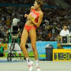 Blanka Vlasic celebrates after clearing the bar in the high jump. The Croatian won gold in the event on Thursday.