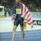 Jeremy Wariner finished second in the 400, but will team with Merritt in the relay.