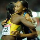 Felix, hugging silver-medal winning Campbell, won the first sprint medal for the American women at the world championships this year.