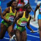 The Jamacian women were also golden, as Aleen Bailey (left), Kerron Stewart and Co. won in 42.06 seconds.