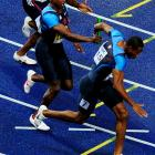 This final pass in the men's 4x100 relay between Shawn Crawford and Darvis Patton was determined to have come outside the zone, eliminating the U.S. team.
