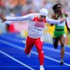 Rakia AL-Gassra of Bahrain ran an 11.49 to advance to the 100-meter quarterfinals, but didn't make it to the semis.