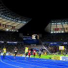 """Bolt believes he can run faster in the 100. """"I know I said 9.4,"""" he said of his pre-race prediction. """"You never know. I'll just keep on working."""""""