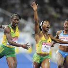 Shelly-Ann Fraser won the women's 100 meters, finishing .02 seconds ahead of teammate Kerron Stewart.