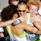 The Australian 4x400 team (John Steffensen, Ben Offereins, Tristan Thomas and Sean Wroe) react after taking bronze.