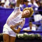 Boris Becker serves during the '85 Open. Becker, who had captured the world's attention by winning Wimbledon earlier that summer at 17, won his only Open title in 1989.