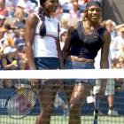 Venus & Serena Williams strike a pose at the annual Arthur Ashe Kids Day prior to the start of the 2004 U.S. Open.