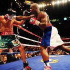 The sweet science claimed another victim as scrappy challenger Marquez had his block knocked off at the MGM Grand in Las Vegas. The spinning noggin was found under a seat in the fifth row.