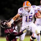 Tim Tebow rushed for 88 yards and threw for 129 more, but the undefeated Gators still struggled to put away the 3-5 Bulldogs. Johnthan Banks returned two Tebow interceptions for touchdowns to lead the Mississippi State defense.