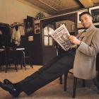 Jeter strikes a pose at a bar in New York's Little Italy in 1999. He is holding a New York Post with the Dana Plato Death cover story.