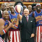 The venerable Globetrotters demonstrate that New York City Police Commissioner Raymond Kelly is easily amused.