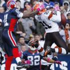 T.O. plays peek-a-Pool with the safety during the Bills' zany 6-3 loss to the Browns in Buffalo on Oct. 11.