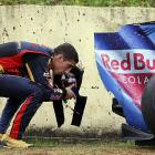 """""""You OK under there?"""" The Swiss F-1 driver had a run-in with a solid object during practice for the Brazil GP at Interlagos in Sao Paulo on Oct. 18."""
