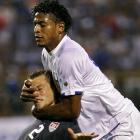 Jonathan Spektor (left) and Carlo Costly re-enact a beloved Three Stooges routine during their World Cup qualifying match in San Pedro Sula, Honduras, on Oct. 10.