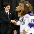 The L.A. Kings' icon welcomes the team's top draft pick to the fold at the Staples Center on Oct. 21.